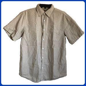 Arizona JEAN CO plaid button down shirt sleeve